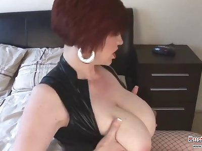 Chubby British mature gets a hot sticky jizz over her juggs