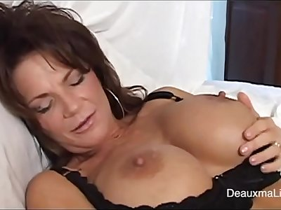 sexy mature in black undergarments getting squirt with dildo