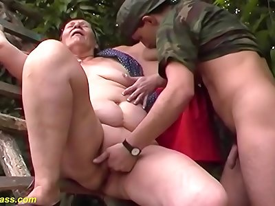 gross fat 80 years elder mummy first-ever outdoor threesome