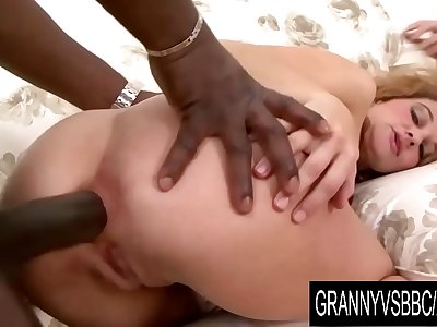 Granny Vs BBC - Mature Amelie Matis Catapults Her Ass with a Black Cock