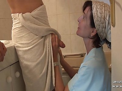 French mom entices young guy with big cock and gets analyzed