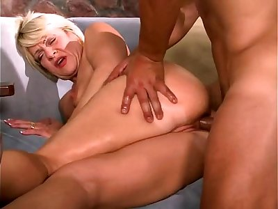 Light-haired grannie doing anal fuck-a-thon