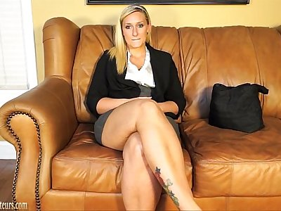 Blonde doing casting interview treated to cock and cum