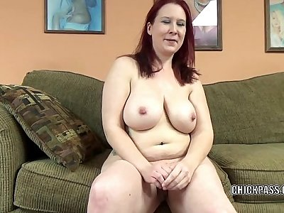 Mature redhead Lia Shade is gargling a dude she just encountered