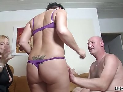 Real German Couple In Female Casting with Big Jug MILF
