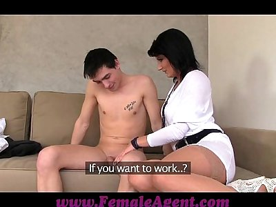 FemaleAgent MILF casts young nervous stud