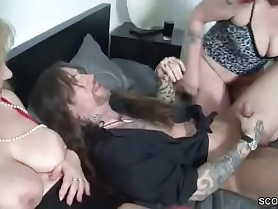 German Mummy and Aunt Seduce Younger Man to Fuck Her