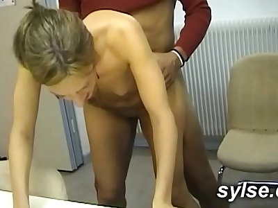 Big black cock for 2 Secretaries in office before ass-fuck orgy in shop for 3 Cougars