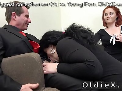 senior house owner enjoy elder and young threesome