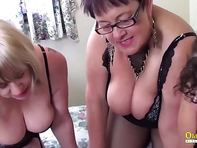 OldNanny Busty nasty lezzies in 3 way