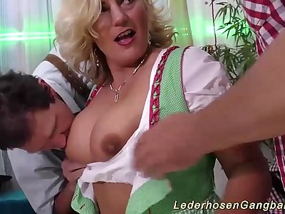 busty milf in wild gang-bang orgy