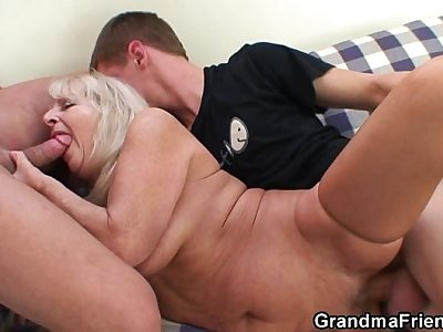 Blond granny in hot threesome orgy