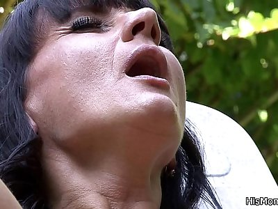Lezzie mom girl outdoor orgy
