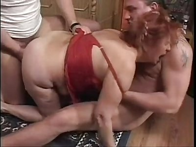 Granny Plumper Ildiko Fucks Two Guys