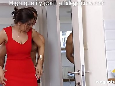 Cheating black-haired MILF is fucked in the morning by her paramour