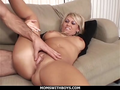 MomsWithBoys - Hot Blond Mom Anal Couch Fucked By Young Rock hard Cock