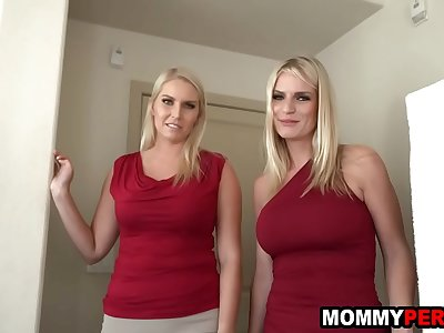 Mom and her milf friend plow step son in a threesome