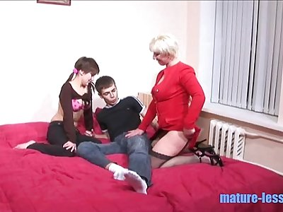 Younger couple fucking with blonde mom