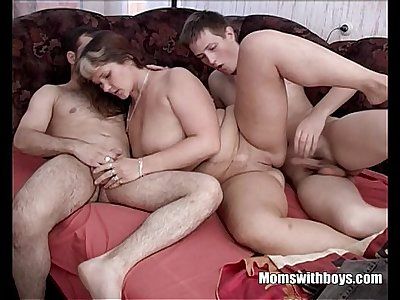 Resting Granny Gets Group-fucked By Two Young Studs