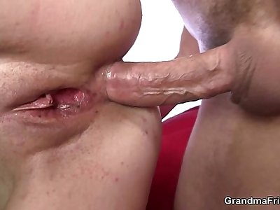Mature breezy gets her throat and ass banged