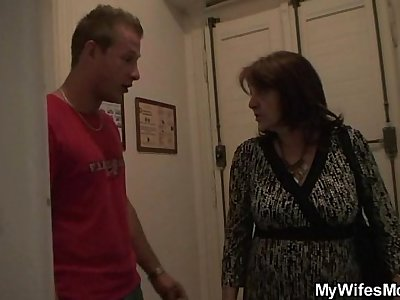 Busty grannie gets laid by son-in-law