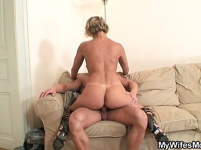 Hot mommy in law enjoys cock riding