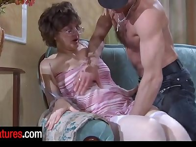 Good-looking 48 years senior mom blowing a guy's beefy pecker before hard doggie
