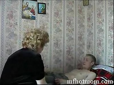 Mom Son's friend Russian Mature Grandma Fucking