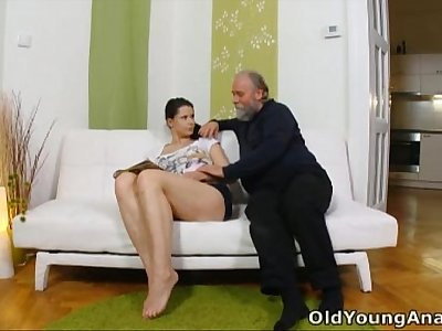 Irene is craving to have anal fuck-fest with aged man