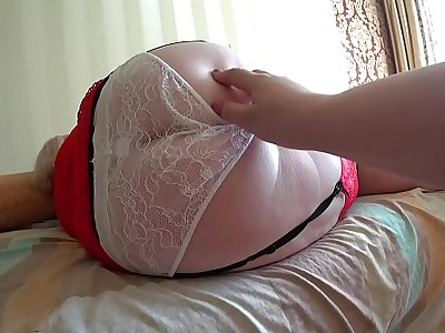 Girlfriend fucked mature milf with fat ass in milky panties. Lezzies POV.