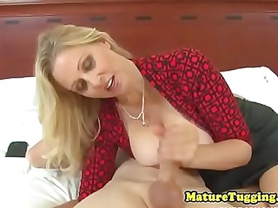 CFNM mature wanking oiled cock